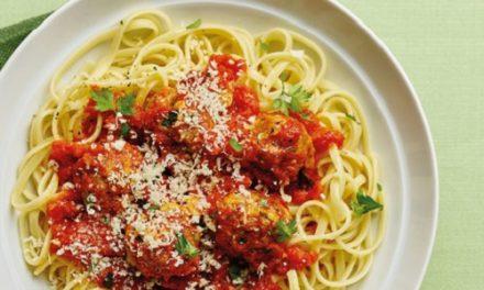 Spaghetti with herby pork meatballs