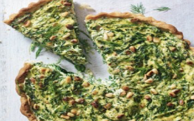 Spinach, ricotta, pine nut and dill tart