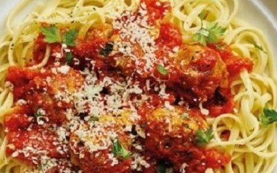 Spaghetti with Herby Pork Meatballs
